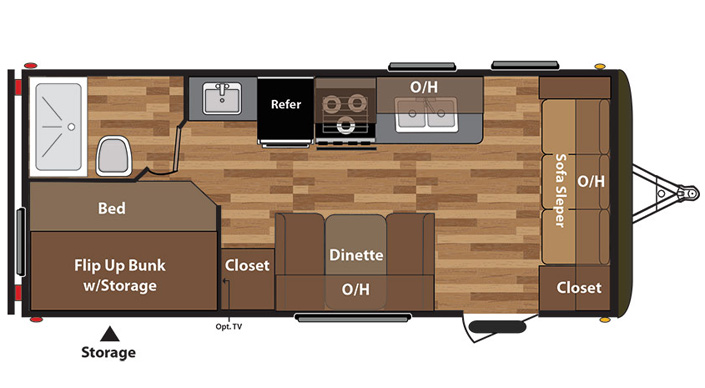 Keystone Hideout 19FL Travel Trailer floorplan