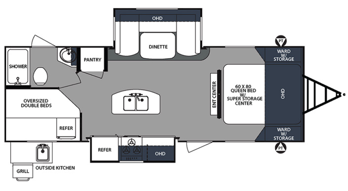 Forest River Surveyor 247BHDS Travel Trailer floorplan